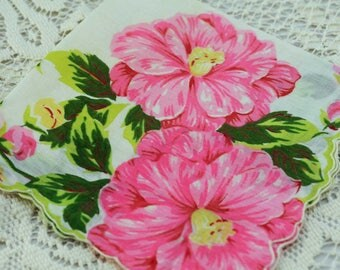 Vintage Hankie, Big Beautiful Pink Flowers GREAT Gift  #A3