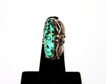 HOLIDAY SALE 25% OFF 1970s Turquoise Sterling Silver Navajo Ring