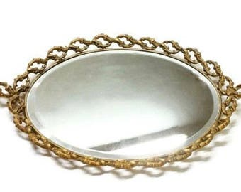 Large Oval Ormolu Mirrored Vanity Tray