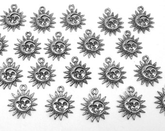 20 Pewter Sun and Moon Charms -0177