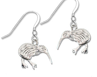 Sterling Silver Kiwi Bird Earrings