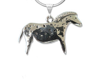 Sterling Silver Large Spotted Cave Horse Pendant