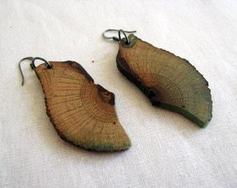 Naturally Sourced Green Oak Wood Earrings