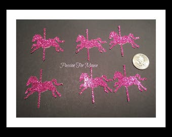 30 Pink Glitter Carousel Horse Die Cuts Punches For Scrapbook Cards Party Confetti Crafts Embellishments Carousel Confetti