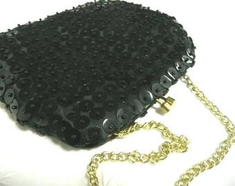 Vintage sequin purse - black sequin purse - vintage party accessory - 1960s sequin purse - vintage evening bag - mid century purse