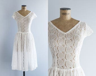 Vintage 50s White Lace Dress- 1950s Cutwork Cotton Sundress - Matilde Dress