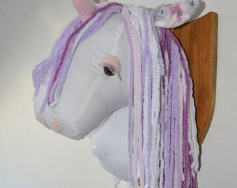 Handmade textile unicorn head