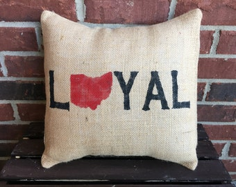 Loyal Ohio burlap Pillow
