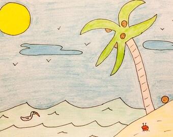 "Original Drawing ""Beach"""