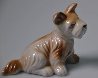 """eb2231 Dog Figurine Schnauzer Terrier Scottie Mixed Breed Mutt Made in Japan 3"""" Tall 4"""" Long 1950s"""