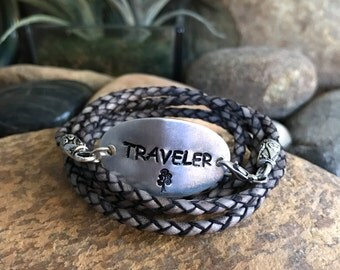 Traveler leather wrap bracelet, traveler jewelry, world traveller, graduation gifts, traveller, explore jewelry, sightseeing, flying