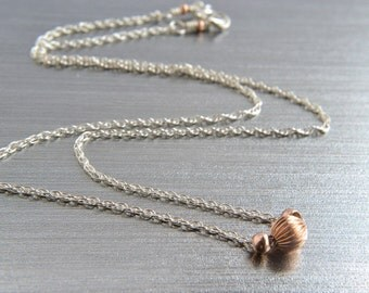 Silver and Rose Gold Necklace, Sterling Silver, Rope Chain, Mixed Metal Jewelry, Silver Choker, Handmade, Custom Length