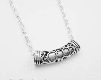 Silver Renaissance Necklace, Tube Pendant, Horizontal Necklace, Curved Tube, Minimalist Jewelry, Modern Jewelry, Steampunk