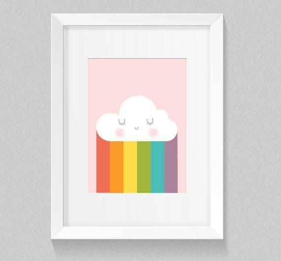 Little Cloud Pastel Rainbow Nursery Children's Art Simple Minimalist Print - Digital Instant Download