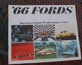 1966 Ford '66 FORDS America's Total Performance Cars Color Dealership Sales Catalog 16 Pages NR Mint Mustang Thunderbird Fairlane Falcon