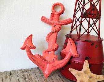 Coral Pink Nautical Nursery Storage Wall Hook / Anchor Towel Hook / Beach House Coat Hooks / Outdoor Towel Hooks / Bathroom Storage