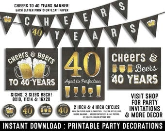40th birthday party decorations - 40th birthday party for him - Cheers to 40 years - Cheers & Beers - Instant download party decor