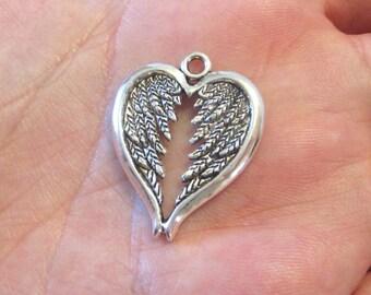 4 x Heart Angel Wing Pendants Antique Silver 30mm x 24mm