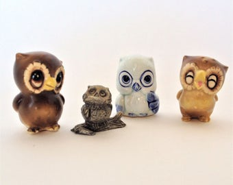 Miniature Owl Figurines, Lot of 4,  Chotsky, Cute and Collectible, 3 Ceramic Owls and  1 Pewter Owl, Vintage, Perfect Gift for Friend