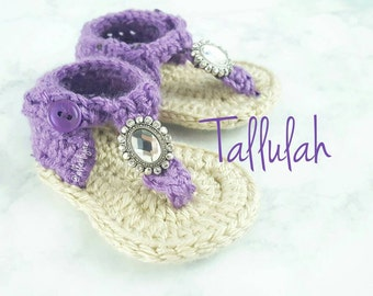 Tallulah crocheted baby shoes, t-strap, brooch,  rhinestone, babyshoes, fabric, spring, summer, baby shower, new mom, gift ideas, 3-6 months