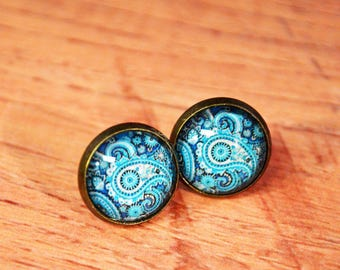 Holiday Gifts // Gifts for Her // Blue Paisley Design Antique Bronze Stud Earrings