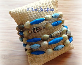 """""""Job's tears and paper beads"""" Cuff Bracelet"""