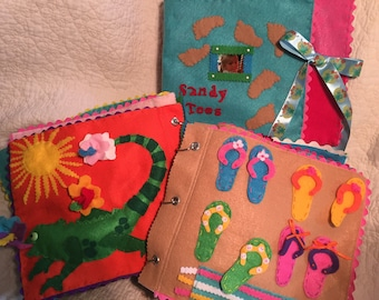 Sandy Toes; an interactive cloth quiet book for your little one!