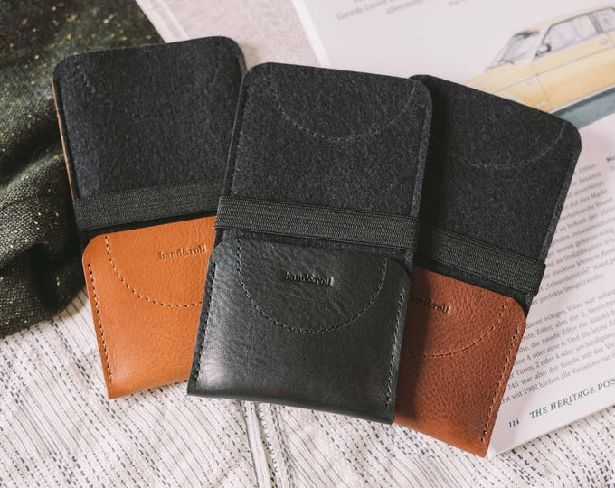 "iPhone 7 Sleeve, iPhone 7 Wallet, iPhone 7 Case, leather, wool felt, ""Kangaroo"""