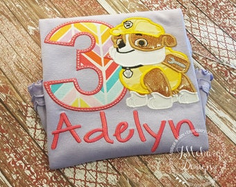 Paw Patrol Rubble Custom Shirt or Birthday Custom Tee Shirt - Customizable 47 lavender