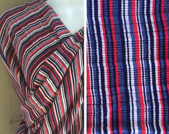 Destash fabric | Vintage red, white and blue ribbed stretch jersey knit