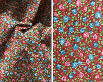 Destash fabric sale | 1 yard vintage calico burgundy fabric ditsy floral print cotton