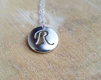 Letter R Necklace Pendant Sterling Silver Chunky Handmade Initial