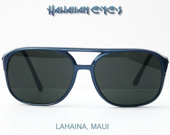 80s True Vintage Hawaiian Eyes Aviator Sunglasses Lahaina Maui Pilot Dark Glass Lenses Large Size
