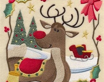 Country Christmas Square Embroidered Towel | Flour Sack Towel | Linen Towel | Dish Towel | Kitchen Towel | Hand Towel | Reindeer Decor