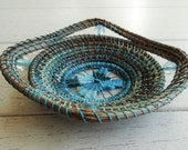 Blue Basket Pine Needle Basket Blue Teneriefe Pine Needle Basket Gift For Him Gift For Her For Teen Native American Basket One Of A Kind