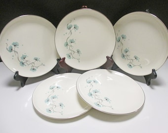 Taylor Smith Taylor Mid Century - Blue Lace Pattern - Hard to Find Salad Plates - Set of 5
