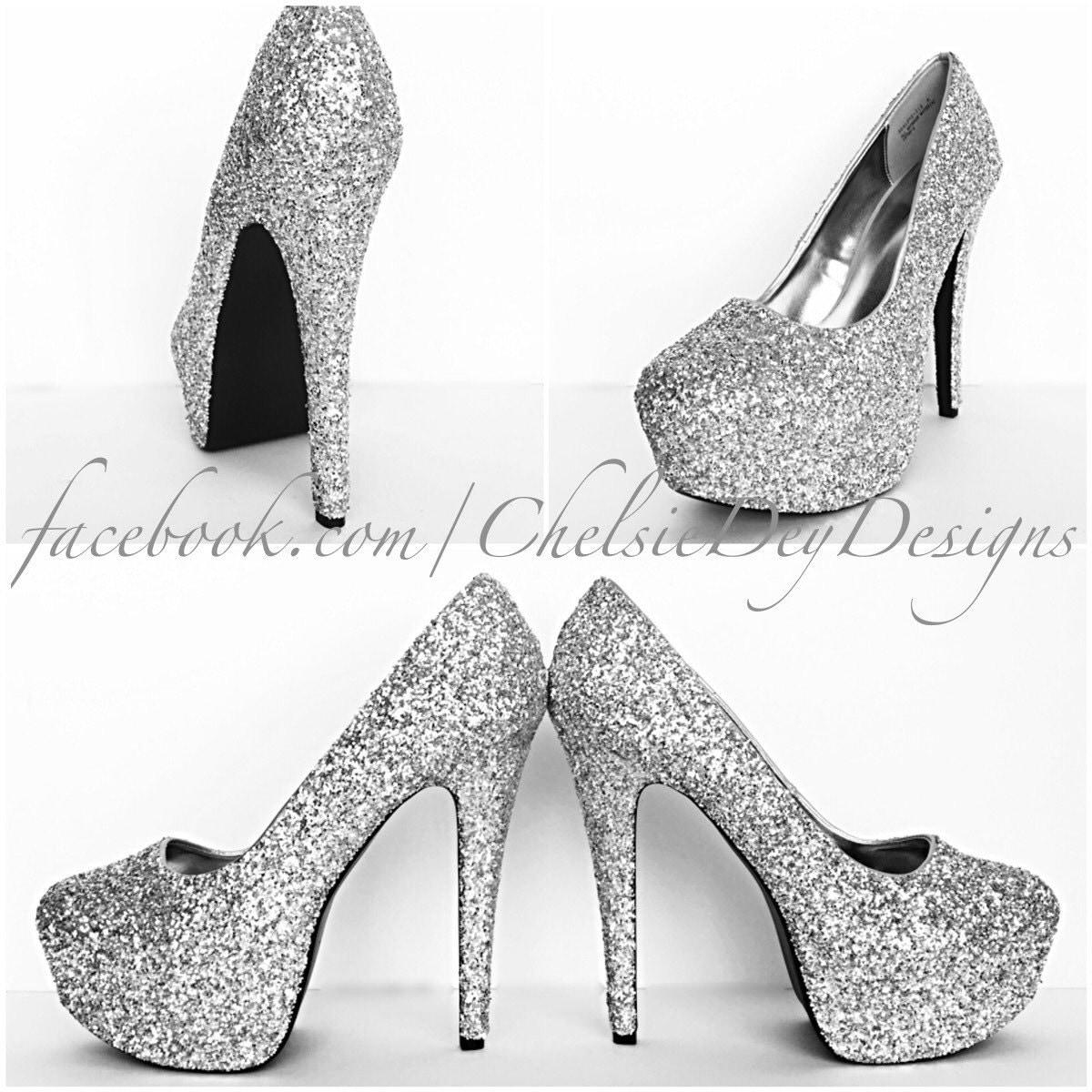 glitter high heels silver platform pumps grey gray sparkly. Black Bedroom Furniture Sets. Home Design Ideas