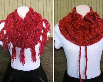 Women's Crochet Infinity Scarf Cowl, Knit Crochet Chunky Scarf, Infinity Cowl, Wool Lace Neckwarmer, Wool Shawl, Australia, Nchanted Gifts