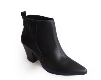 Black Booties sale, Leather and rubber Ankle Boots, Womens boots, Low Heel Ankle Boots, Pointy boots, Handmade Leather Boots, 50% off