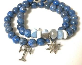 Pave sunburst lapis bracelet, pave diamond sun charm on banded agate and lapis, beachy blue bracelet, boho yoga stretchy layer stacking
