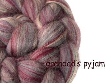 Blended roving - Merino - Tussah silk - 100g/3.5oz - pink - GRANDAD'S PYJAMAS