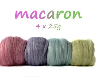 MACARON - Blended Tops - Mixed Pack - Combo spin - Merino - Mulberry Silk - Faux Cashmere - Milk - Firestar 100g / 3.5oz