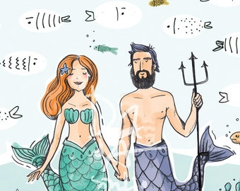 Groom & Bride Mermaids Guestbook, Wedding Guestbook, Mermaids and Fishes in the Sea, Wedding Fingerprints, Hand drawing,  Guestbook, PDF