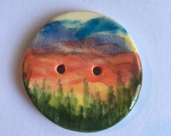 Handmade Ceramic Button With A Hand Painted Mountain Scene