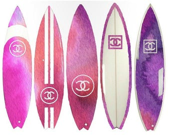 Pink / Purple Surfboard DIGITAL ART PRINT from Watercolor Painting, Fashion Illustration, Home Decor