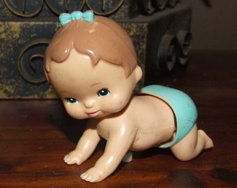 Vintage 70's Tomy Wind-Up Crawling Baby Girl