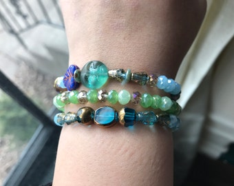 Eclectic Moon Girl Blue stretchy bracelet set, w/ faceted greens, turquoise & sparkle