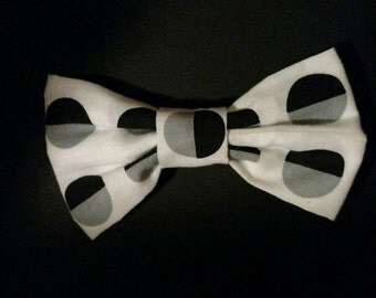 White, Black, & Gray Fabric Bow