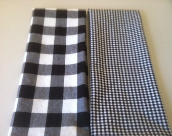 Black / White Gingham Hand Towels, Tea Towels, Guest Towels, Basket Liners - Set of 2, by CHOW with ME