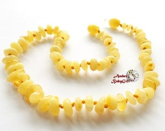 Baltic Amber Teething Necklace - Genuine Baltic Amber - Honey - Milky Amber Beads - Screw Clasp - Choose Your Length, K-1
